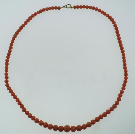 BEAUTIFUL RED CORAL GRADUATED VICTORIAN C.1900 STRAND