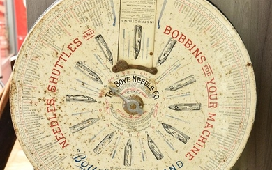 'BOYE NEEDLE CO.' POINT OF SALE ADVERTISING DISPLAY, LITHOGRAPH ON TIN, EARLY 20TH CENTURY, 41CM DIAMETER