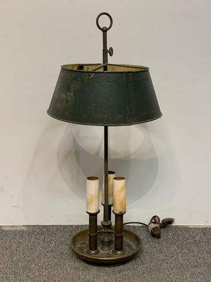 Brass and Tole Metal Bouillotte Lamp
