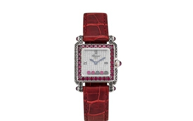 CHOPARD | HAPPY SPORT, REFERENCE 5258 A WHITE GOLD, DIAMOND, BLACK DIAMOND AND RUBY-SET WRISTWATCH, CIRCA 2005