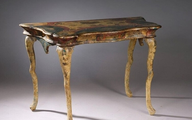 CONSOLE TABLE with moving top decorated in arte povera on a polychrome lacquered and gilded background. Curved crossbow legs.