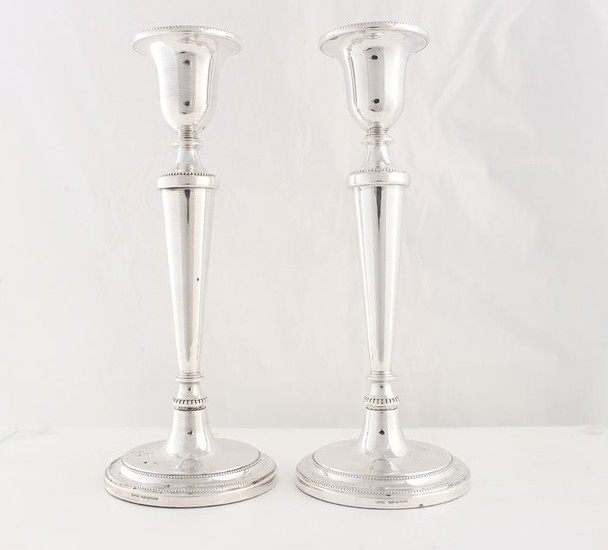 Candlestick, (Large pair 22.8 cm) (2) - .925 silver - Broadway & Co, Birmingham - England - 1994