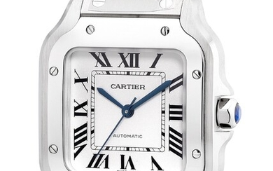 Cartier, Ref. WSSA0029 An attractive and well-preserved stainless steel square-shaped wristwatch with center seconds, bracelet, warranty and box