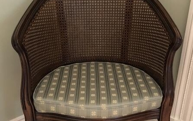 Carved Caned Bergere Chair