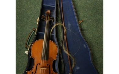 Cased violin with bow with internal label for Lutherie Artis...
