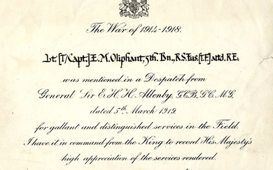Certificate of Excellence from WWI Signed by Winston Churchill, July 1919