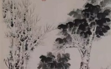 Chinese scroll painting on paper - Rice paper - 《张大千-高士图》Made after Zhang Daqian - China - Late 20th century