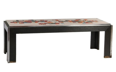 Coffee table with 24 tiles with polychrome decor