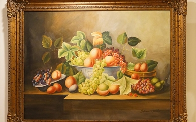 Continental School, Oil on Canvas, Still Life with Grapes and Peaches PK1A