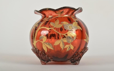 Cranberry Glass Footed Vase
