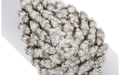 Diamond, White Gold Ring The ring centers full-cut diamonds...