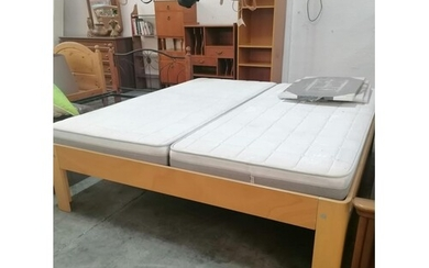 Double Light Wood Bed with 2 x Single Mattress (W:180cm x L:...