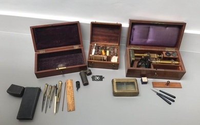 Drawing instruments, Microscope, Sample box with preparations and tool, live box - various lot 3 boxes - 19th century