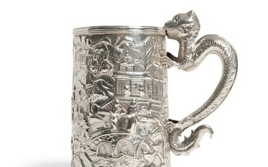 EXPORT SILVER MUG WITH FIGURES QING DYNASTY, C.1860