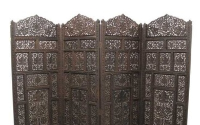 Eastern folding screen with carved pierced panels