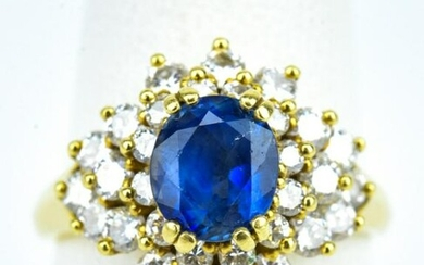 Estate 18k Diamond and Sapphire Cocktail Ring