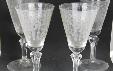 FOOT GLASSES in glass engraved with flowers, floral...