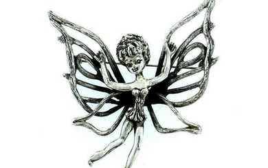 FORTOLANI STAMPED PIN BROOCH GIRL BUTTERFLY GREAT GIFT
