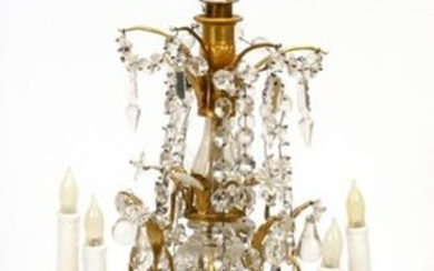 FRENCH DORE BRONZE AND CRYSTAL CANDELABRUM