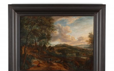 Flemish School Landscape with Figures and Village, 17th Century