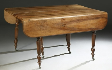 French Louis Philippe Carved Walnut Demi Lune Dining