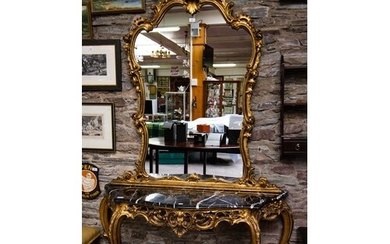 GILT CONSOLE TABLE WITH MARBLE TOP AND MATCHING MIRROR. TOTA...