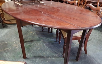 Georgian Style Mahogany Wake Table, the long oval top with drop-leaves, raised on square legs (Leaves Up - H: 76 x L: 227 x W: 129cm...