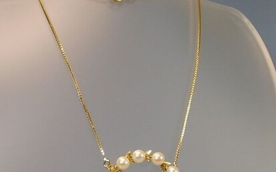 Goldschmiede-Handanfertigung - 14 kt. Akoya pearls, Yellow gold - Necklace - 13.80 ct Akoya pearls
