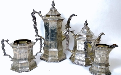 Good Victorian silver four-piece tea and coffee set of waved...