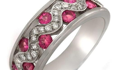 Great Round-Cut Pink Sapphire And Pave Diamond Ring