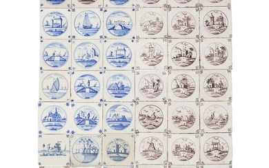 Group of forty-four Dutch Delft blue and manganese tiles...