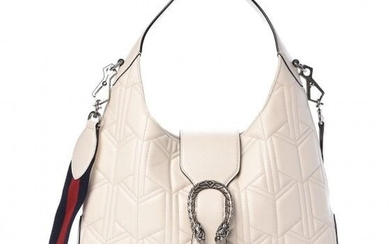 Gucci - Calfskin Quilted Small Dionysus Hobo White Handbag