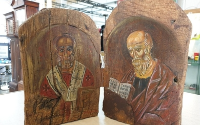 Hand Painted Two-Part Greek Icon on Old Wood by Eleni Andron...