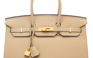 Hermès 35cm Trench Togo Leather Birkin Bag with Gold...