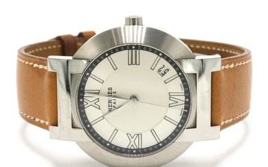 Hermes Stainless Steel & Brown Leather Watch