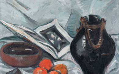 Irma Stern South African 1894–1966 African and Chinese ceramics with oranges and open book 1954 oil on canvas signed a...
