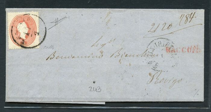 Italian Ancient States - Lombardo Veneto 1863 - Letter stamped with 5 soldi and 10 soldi from Venice to Rovigo - Sassone N. 33 - 34