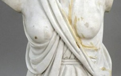 Italian Carved Marble Torso, partially nude draped