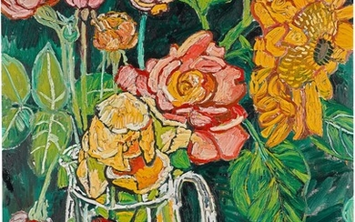 JOHN BRATBY, R.A. | ROSES AND SUNFLOWERS