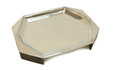 Jean Puiforcat 950 Silver & Wooden Art Deco Footed Tray