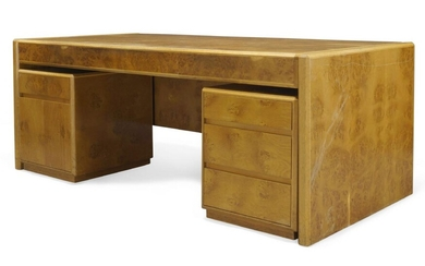 John Home, a burr oak 'Ambassador' range desk and side...