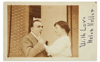 "KELLER, HELEN. Postcard Photograph Signed and Inscribed, ""With Love / Helen Keller,"" in pencil, with Autograph Note, to Mrs. John Hays"