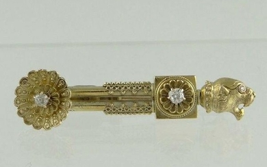 LADIES 14K YELLOW GOLD VINTAGE DIAMOND FLOWER LIONESS