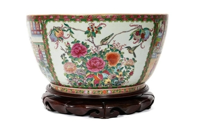 LARGE CHINESE ROSE MEDALLION PUNCH BOWL WITH STAND