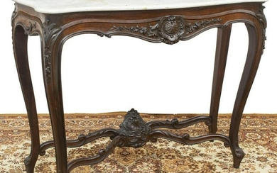 LOUIS XV STYLE MARBLE-TOP MAHOGANY CONSOLE