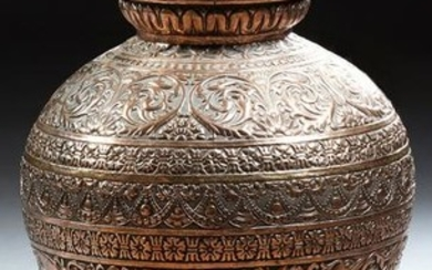 Large Relief Decorated Copper Covered Baluster Urn