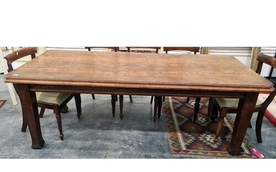 Late 19th/early 20th century oak dining table, the rectangul...