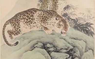 Liu Kuiling (China, 1885 1967), ink and colour on paper: 'Two leopards in a mountain landscape'