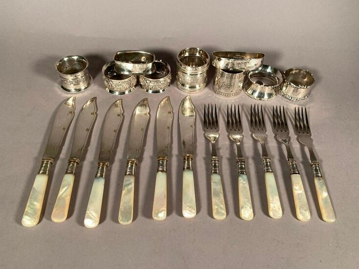 Lot of Nine Assorted Sterling Silver Napkin Rings