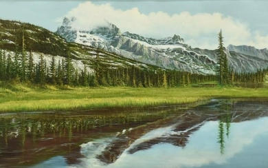 MOUNTAIN LAKE LANDSCAPE PAINTING SIGNED PETERS